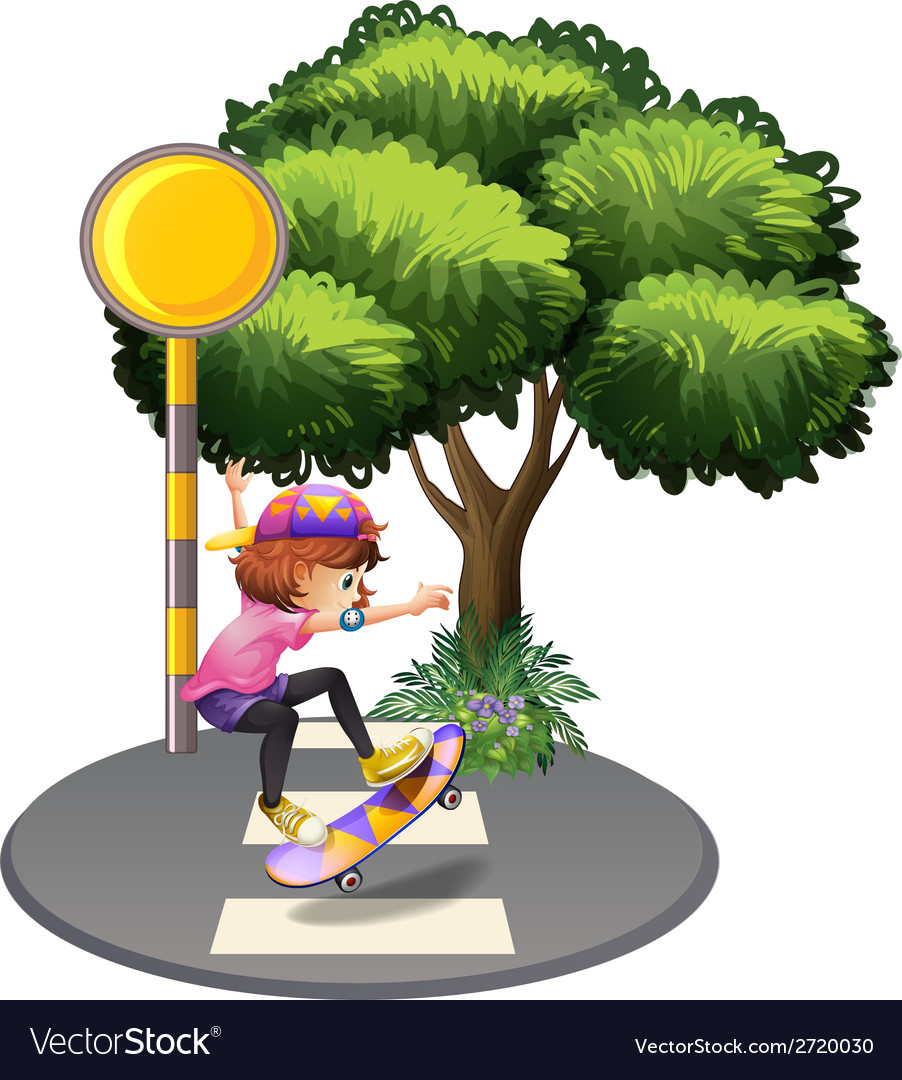 A girl skateboarding at the street vector | Price: 1 Credit (USD $1)