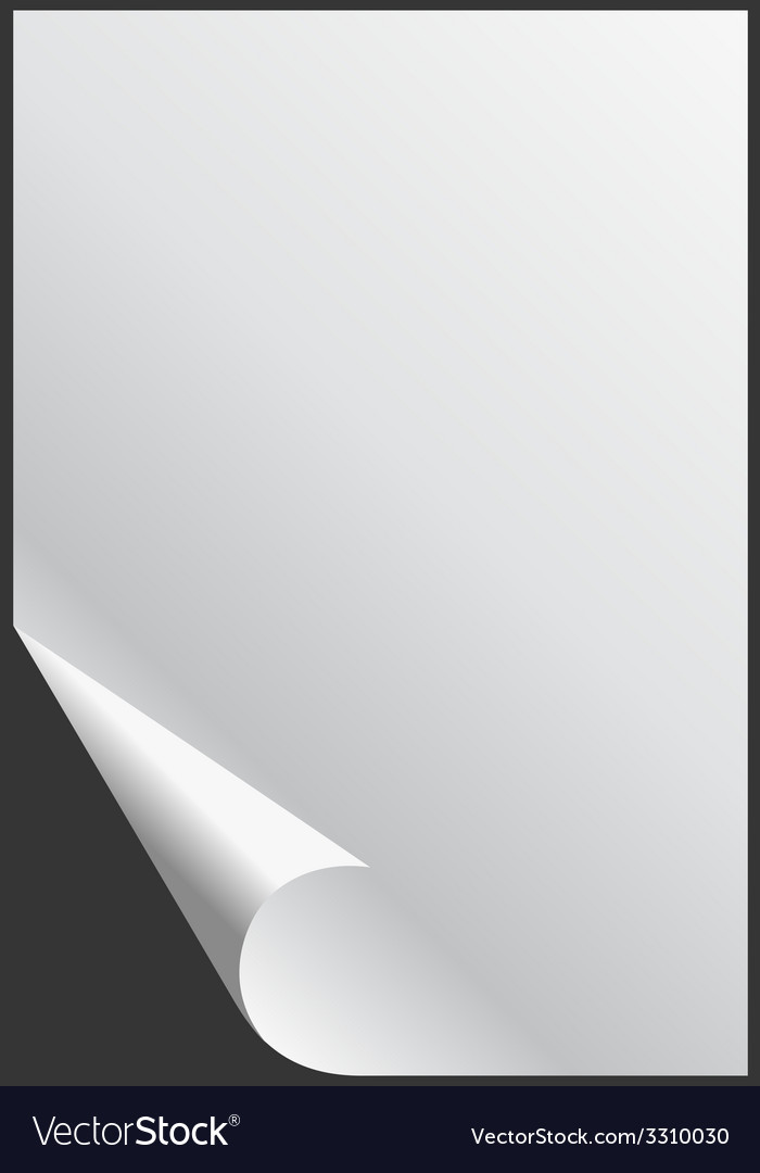 Blank glossy empty paper sheet with folded corner vector | Price: 1 Credit (USD $1)