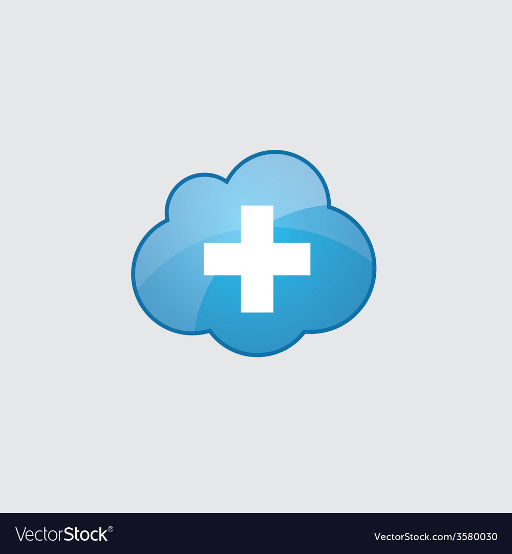 Blue cloud plus icon vector | Price: 1 Credit (USD $1)