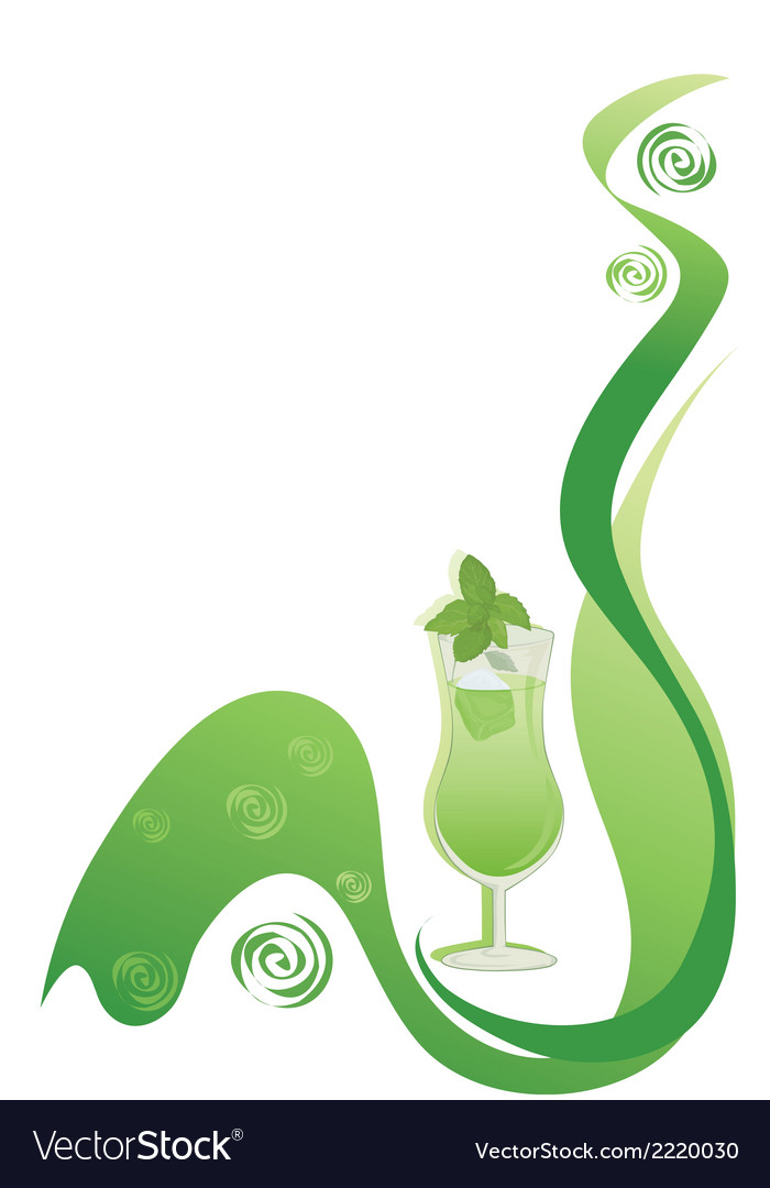 Cocktail green background with mint vector | Price: 1 Credit (USD $1)