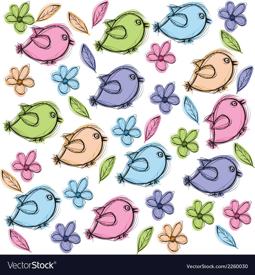 Doodle birds vector | Price: 1 Credit (USD $1)