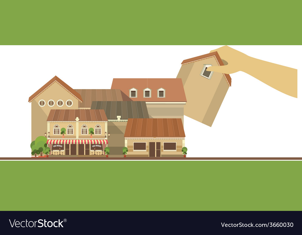 Hand puts house on the city project vector   Price: 1 Credit (USD $1)
