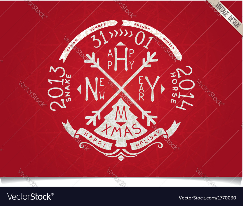 Happy new year vintage lettering design vector   Price: 1 Credit (USD $1)