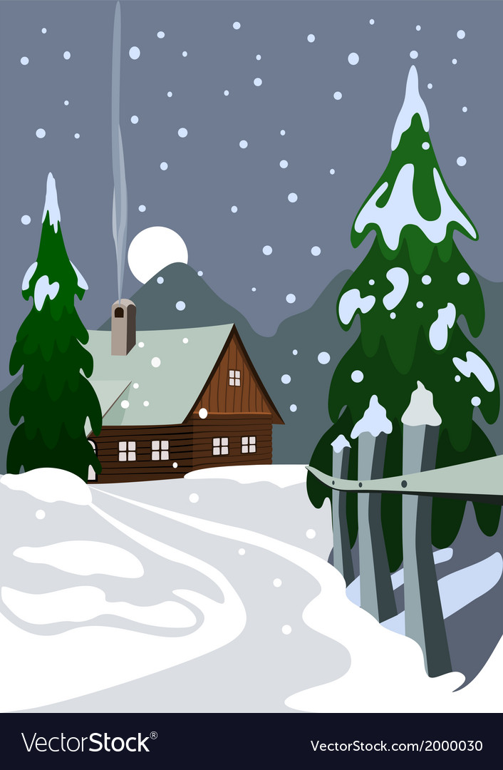 House in snow forest vector | Price: 1 Credit (USD $1)