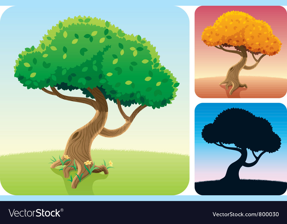 Tree square landscapes vector | Price: 1 Credit (USD $1)