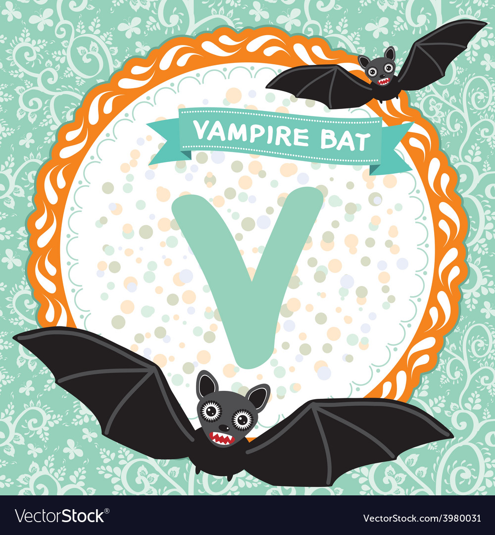 Abc animals v is vampire bat childrens english vector | Price: 1 Credit (USD $1)