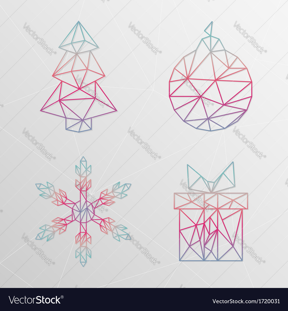 Abstract geometric christmas tree snowflake gift vector | Price: 1 Credit (USD $1)