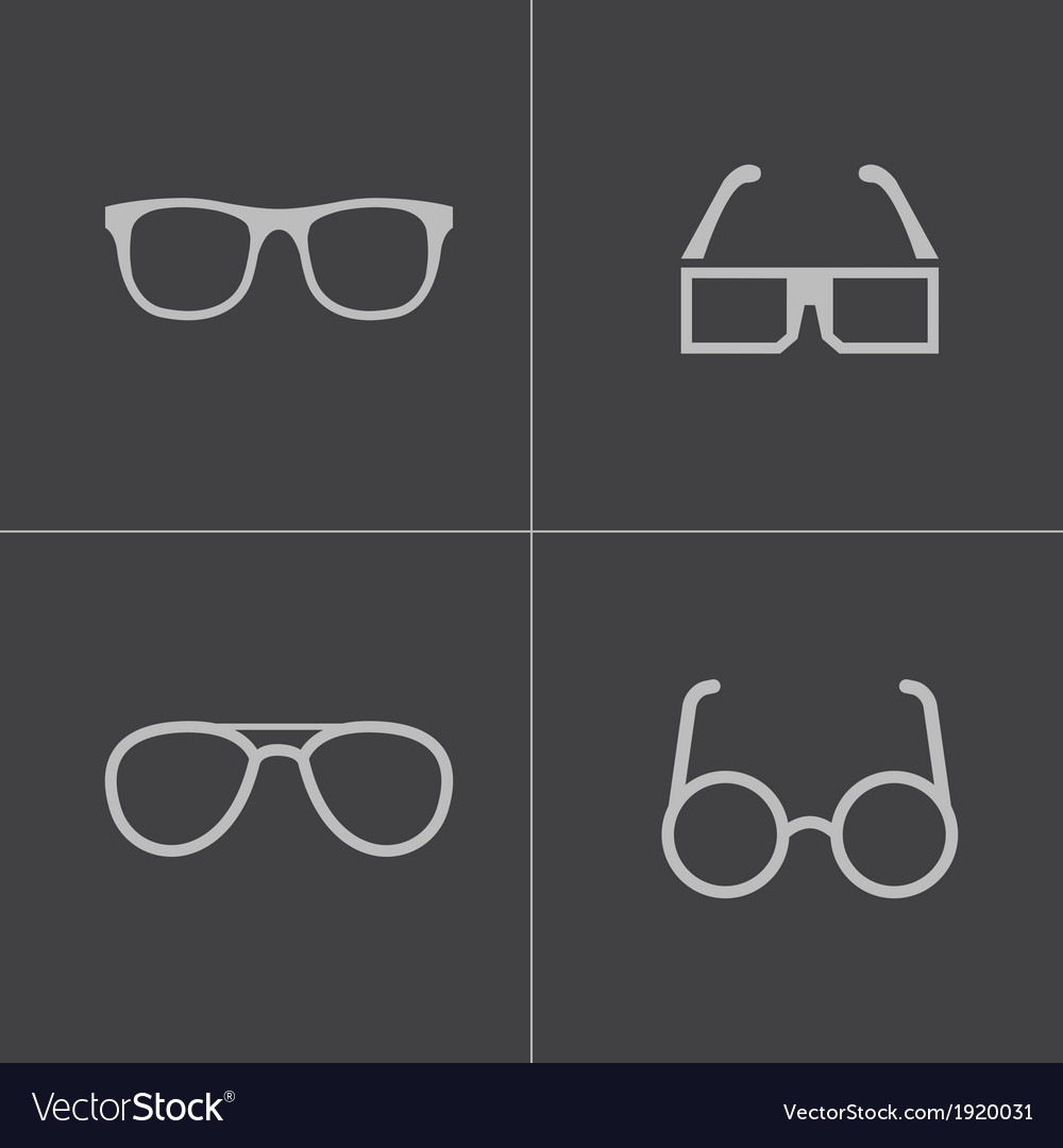Black glasses icons set vector | Price: 1 Credit (USD $1)