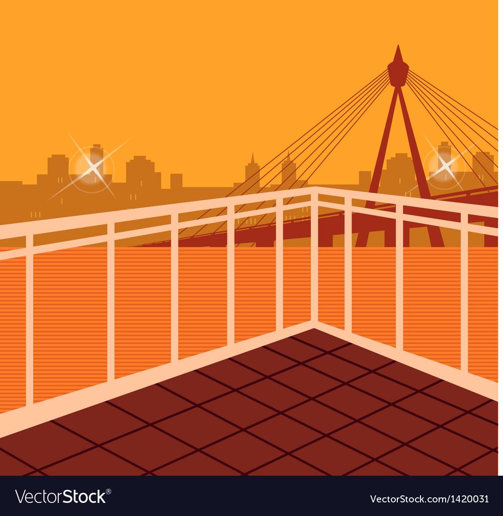 Cityscape bridge scene vector | Price: 1 Credit (USD $1)