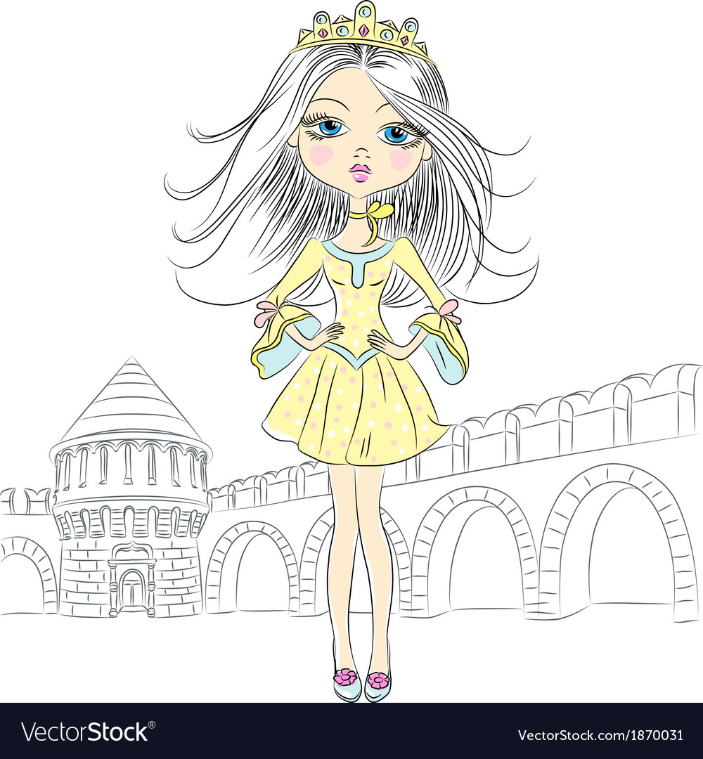 Fashion girl princess in the crown vector | Price: 1 Credit (USD $1)