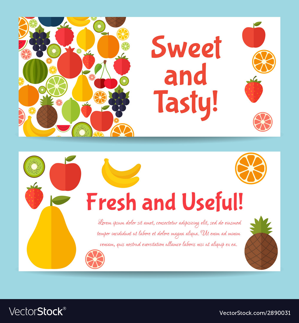 Fruits flat icon set colorful template for cooking vector | Price: 1 Credit (USD $1)