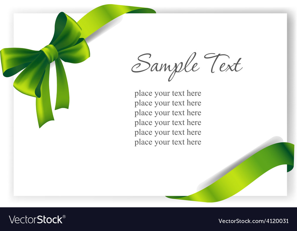 Greeting card with a green ribbon vector | Price: 3 Credit (USD $3)