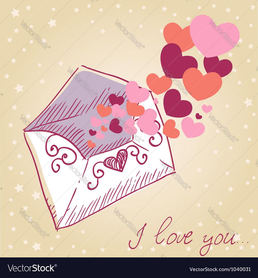 Love letter valentine retro card vector | Price: 1 Credit (USD $1)