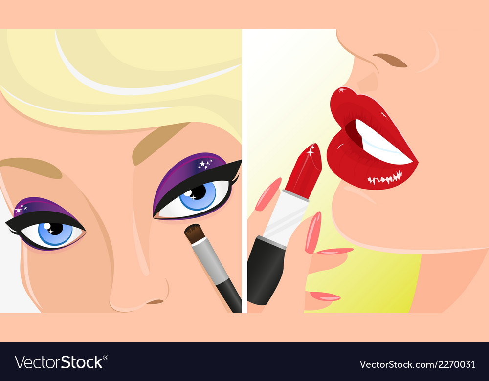 Make-up twice  red lipstick and violet eye shadow vector | Price: 1 Credit (USD $1)