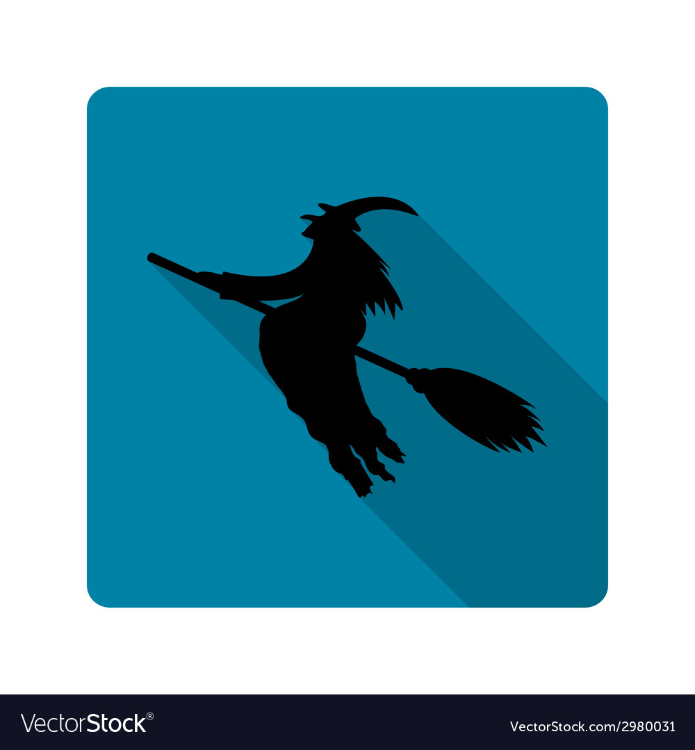 Silhouette of a witch on a broom icon vector | Price: 1 Credit (USD $1)