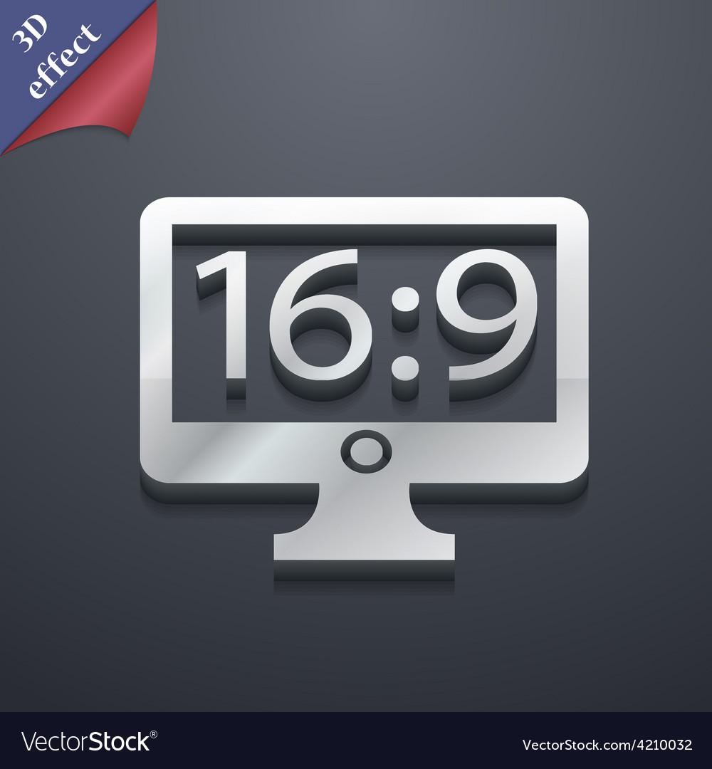 Aspect ratio 16 9 widescreen tv icon symbol 3d vector   Price: 1 Credit (USD $1)