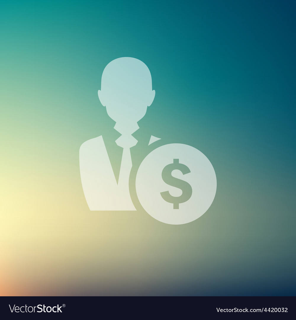 Businessman with dollar sign in flat style icon vector | Price: 1 Credit (USD $1)