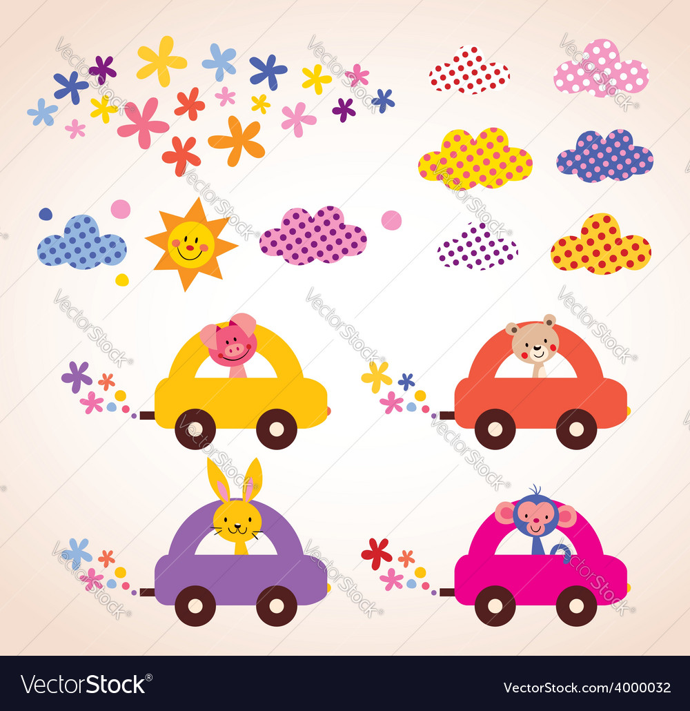 Cute animals driving cars kids stuff design vector | Price: 1 Credit (USD $1)