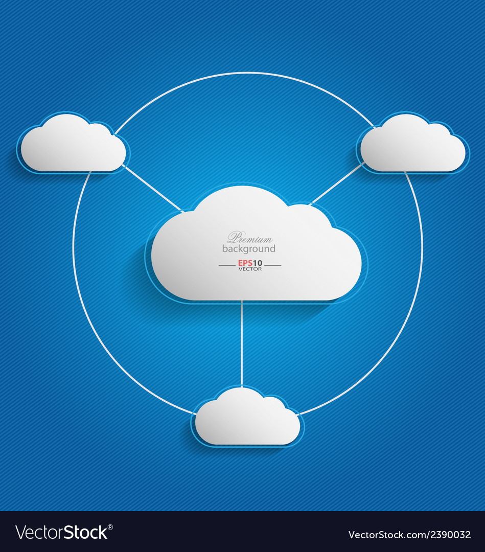 Elegant empty clouds on blue background vector | Price: 1 Credit (USD $1)