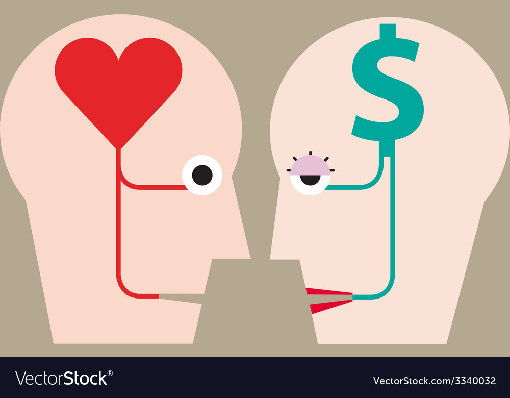 Heart and money in head concept vector | Price: 1 Credit (USD $1)