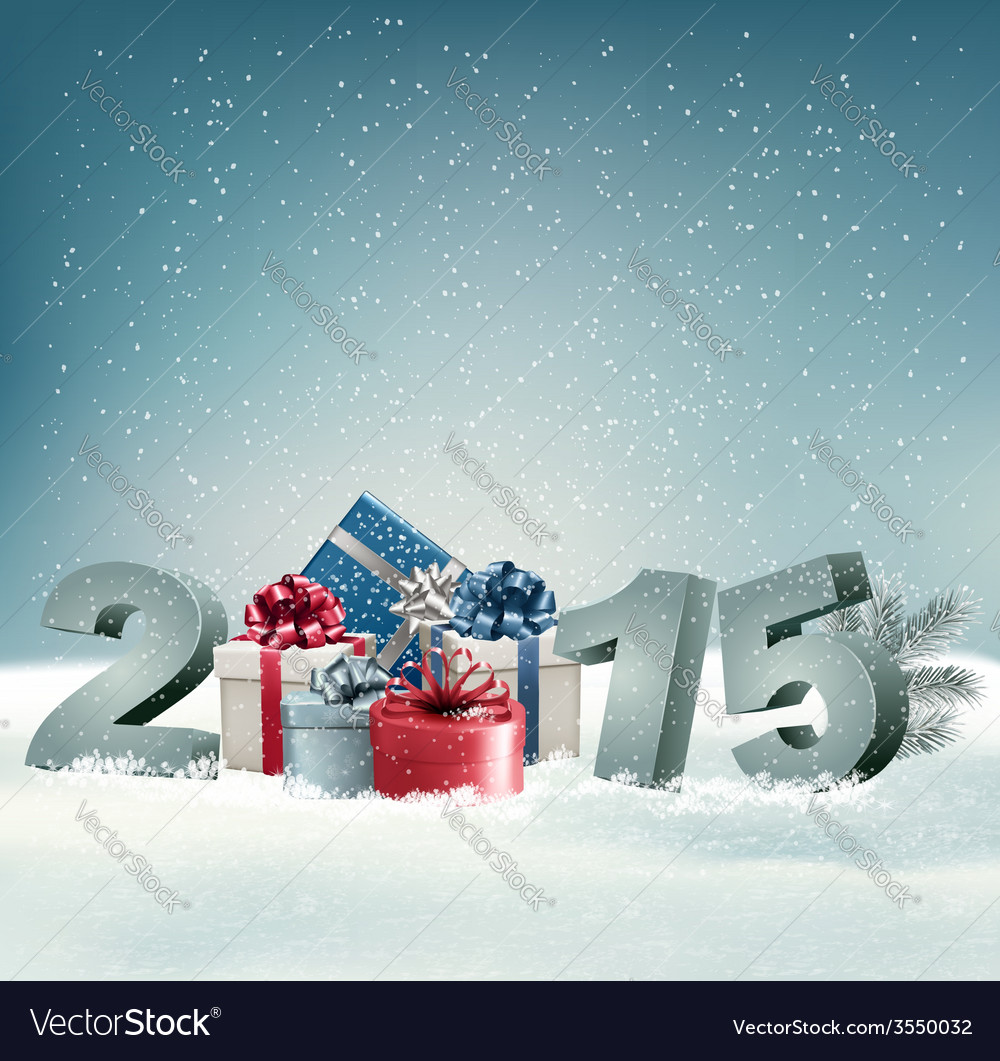 Holiday background with presents and 2015 vector | Price: 3 Credit (USD $3)