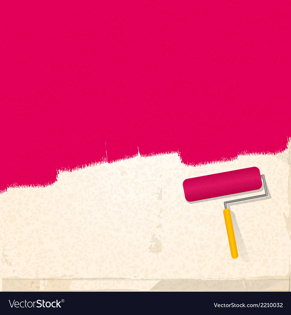 Paint and roller background pink vector