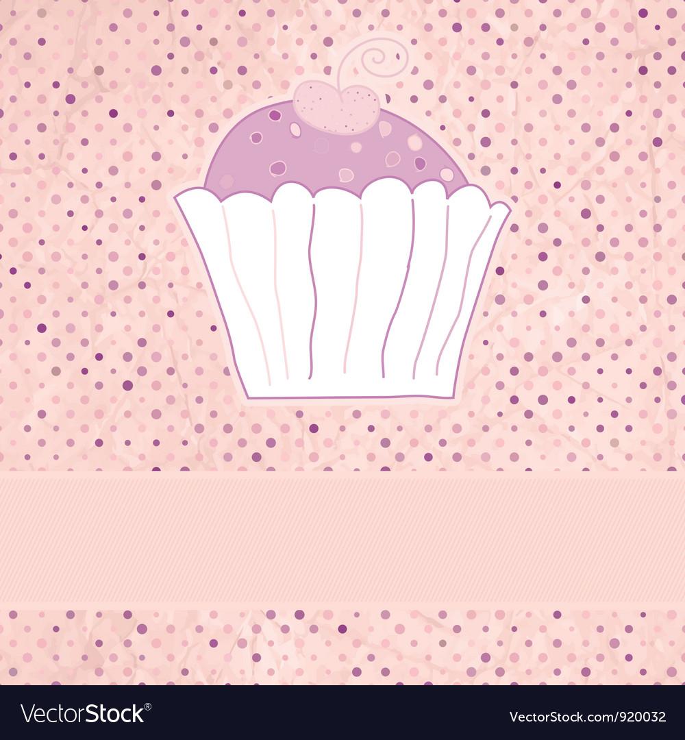 Retro cupcakes card vector | Price: 1 Credit (USD $1)