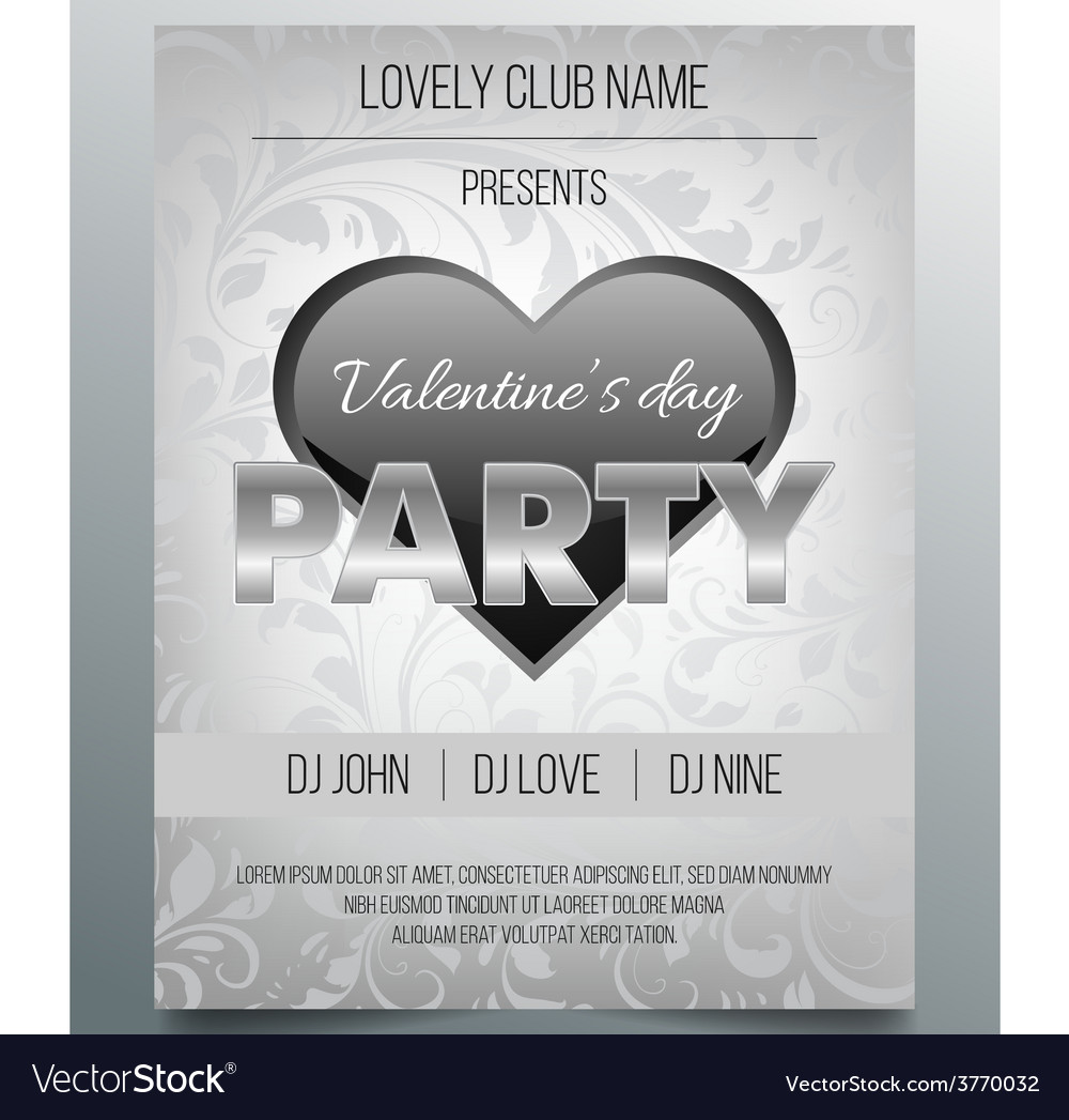 Valentines day party flyer template- silver design vector | Price: 1 Credit (USD $1)