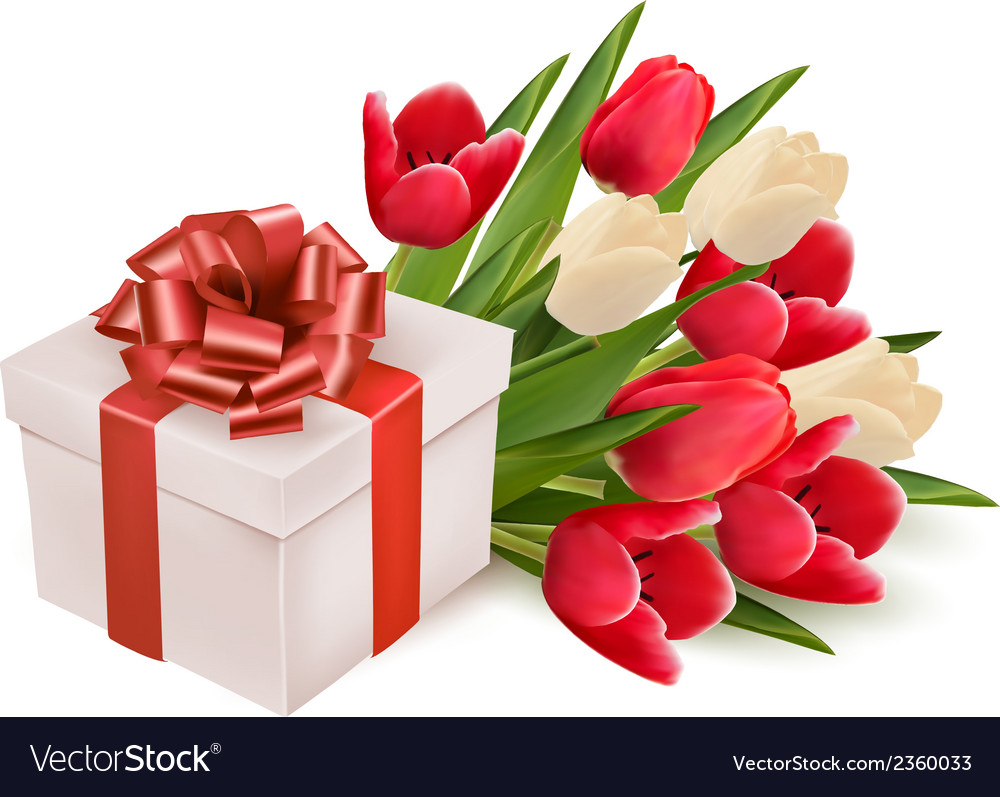 Background with gift box and flowers vector | Price: 1 Credit (USD $1)