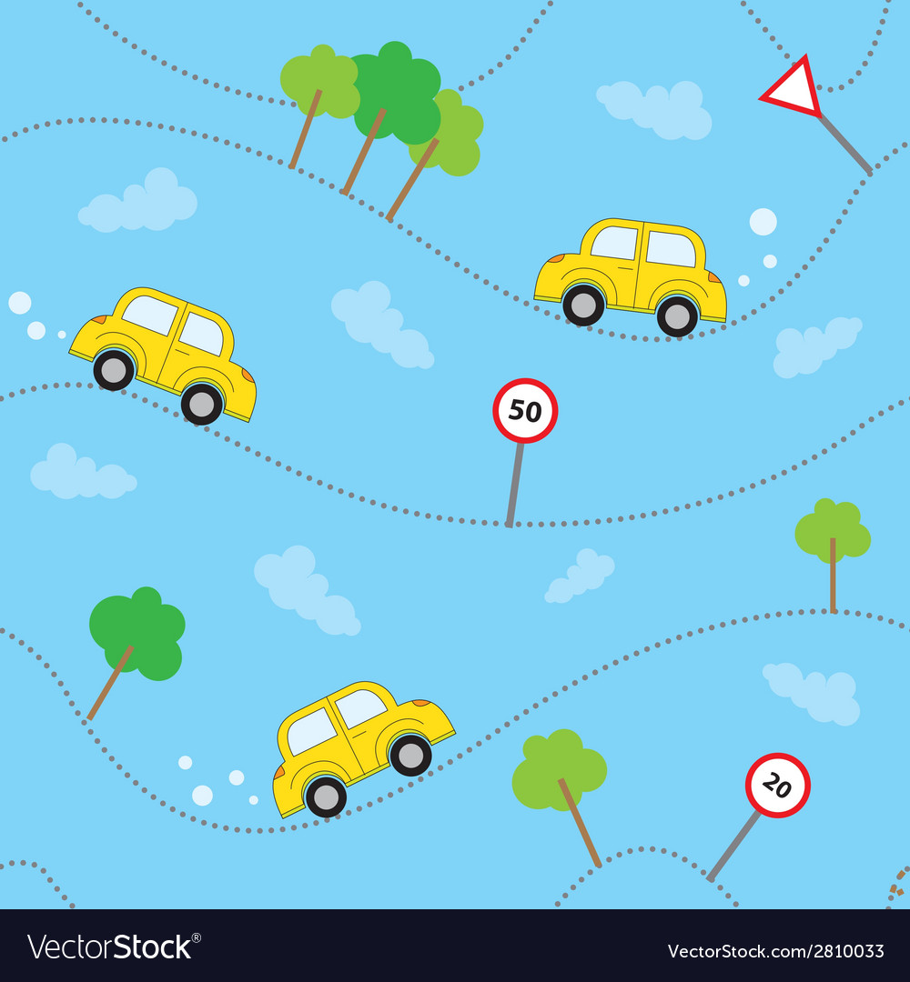 Cartoon cars seamless pattern template for design vector | Price: 1 Credit (USD $1)