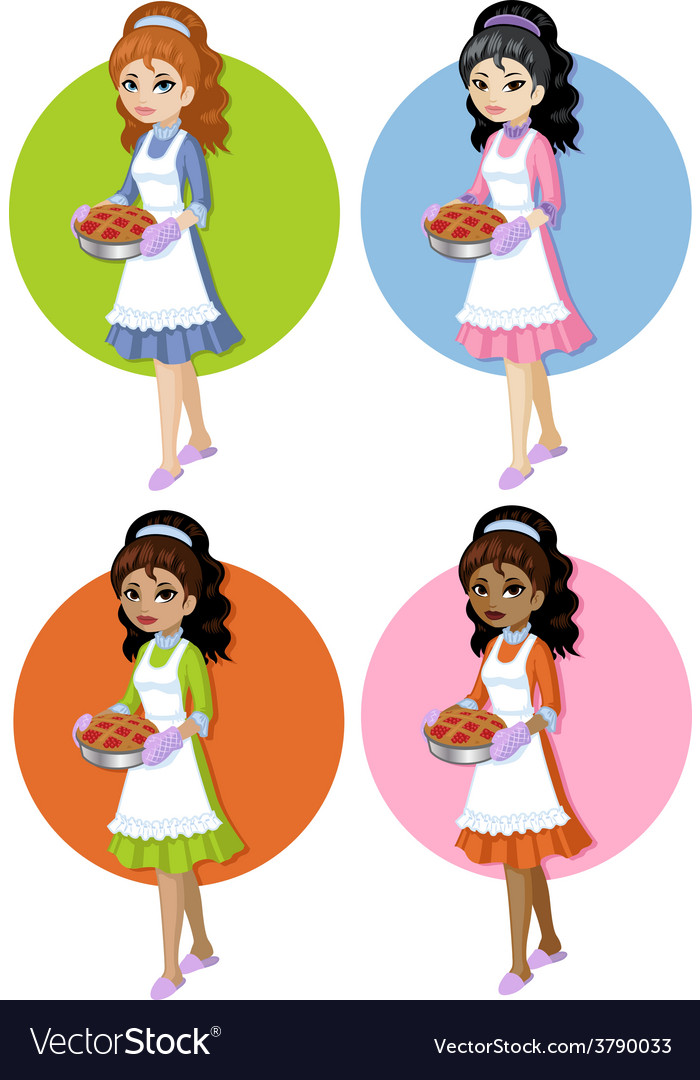 Cute young woman with homemade cake set on simple vector | Price: 3 Credit (USD $3)