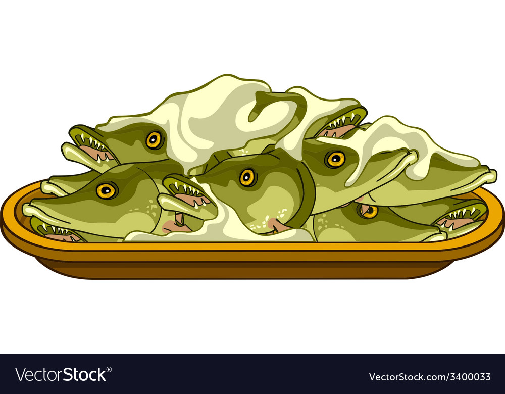 Fish pike head on a platter vector | Price: 1 Credit (USD $1)