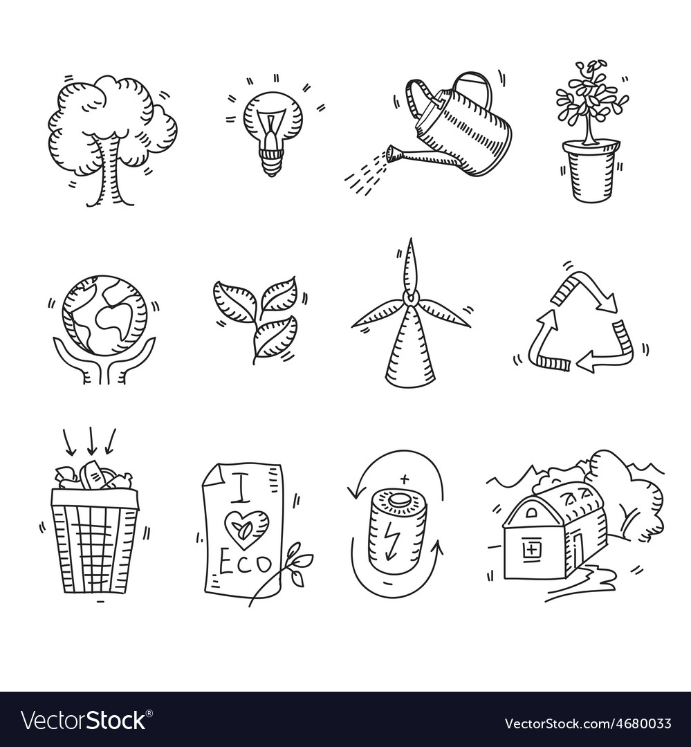 Hand drawn doodle sketch ecology organic icons eco vector | Price: 1 Credit (USD $1)