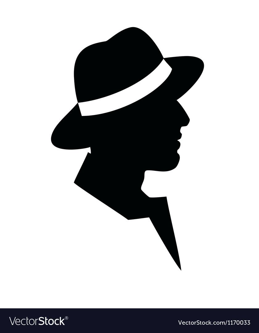 Man in a hat -black silhouette on white background vector | Price: 1 Credit (USD $1)