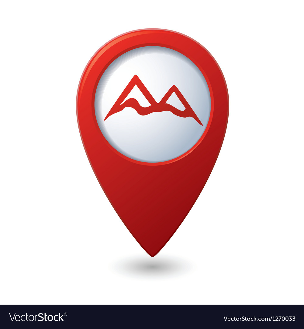 Map pointer with mountain icon vector | Price: 1 Credit (USD $1)