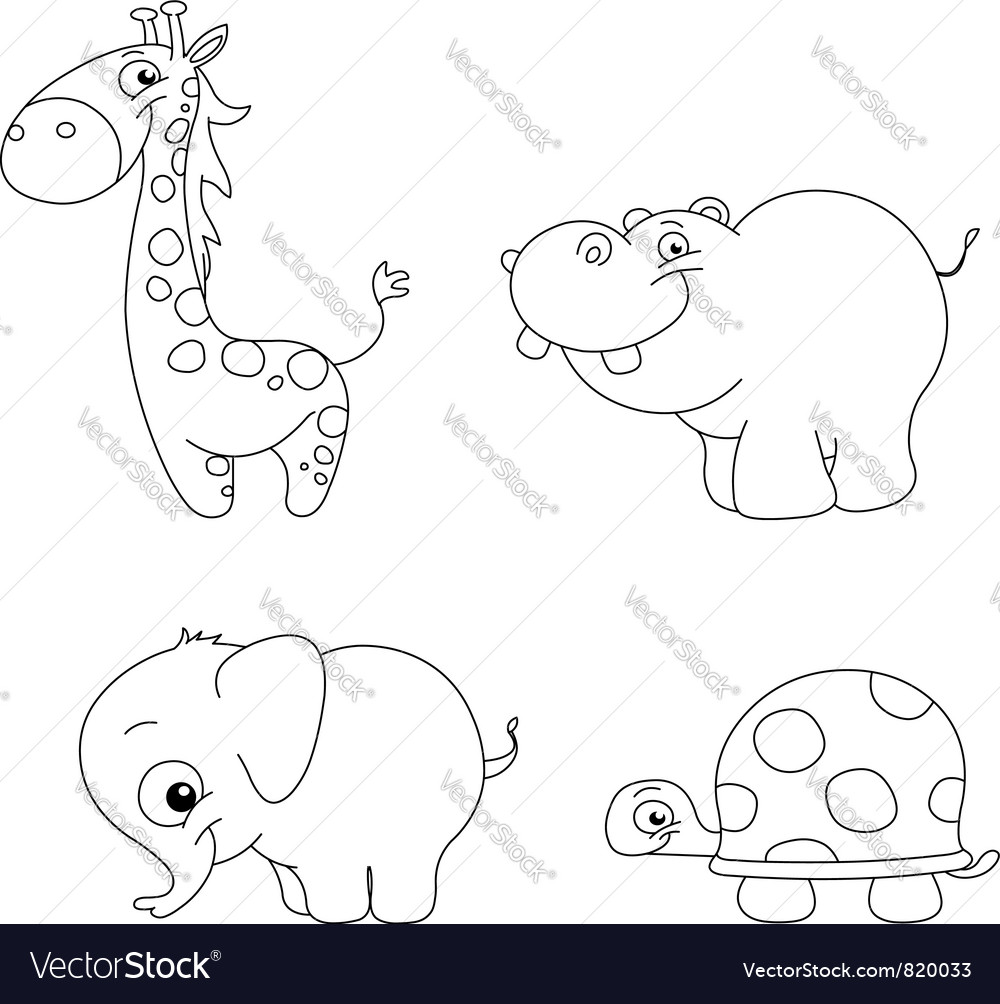 Outlined cute animals vector | Price: 1 Credit (USD $1)