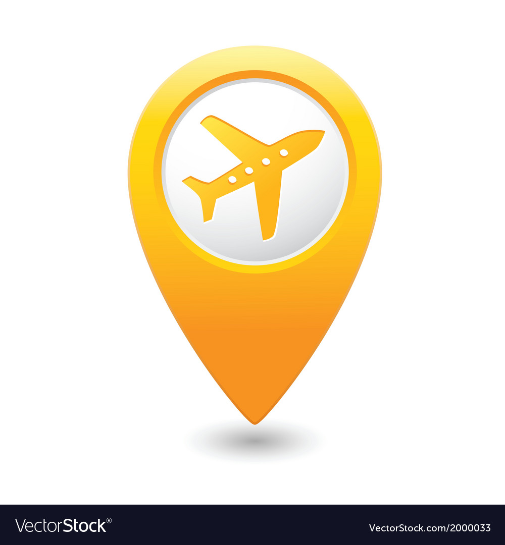Plane icon on map pointer yellow vector | Price: 1 Credit (USD $1)