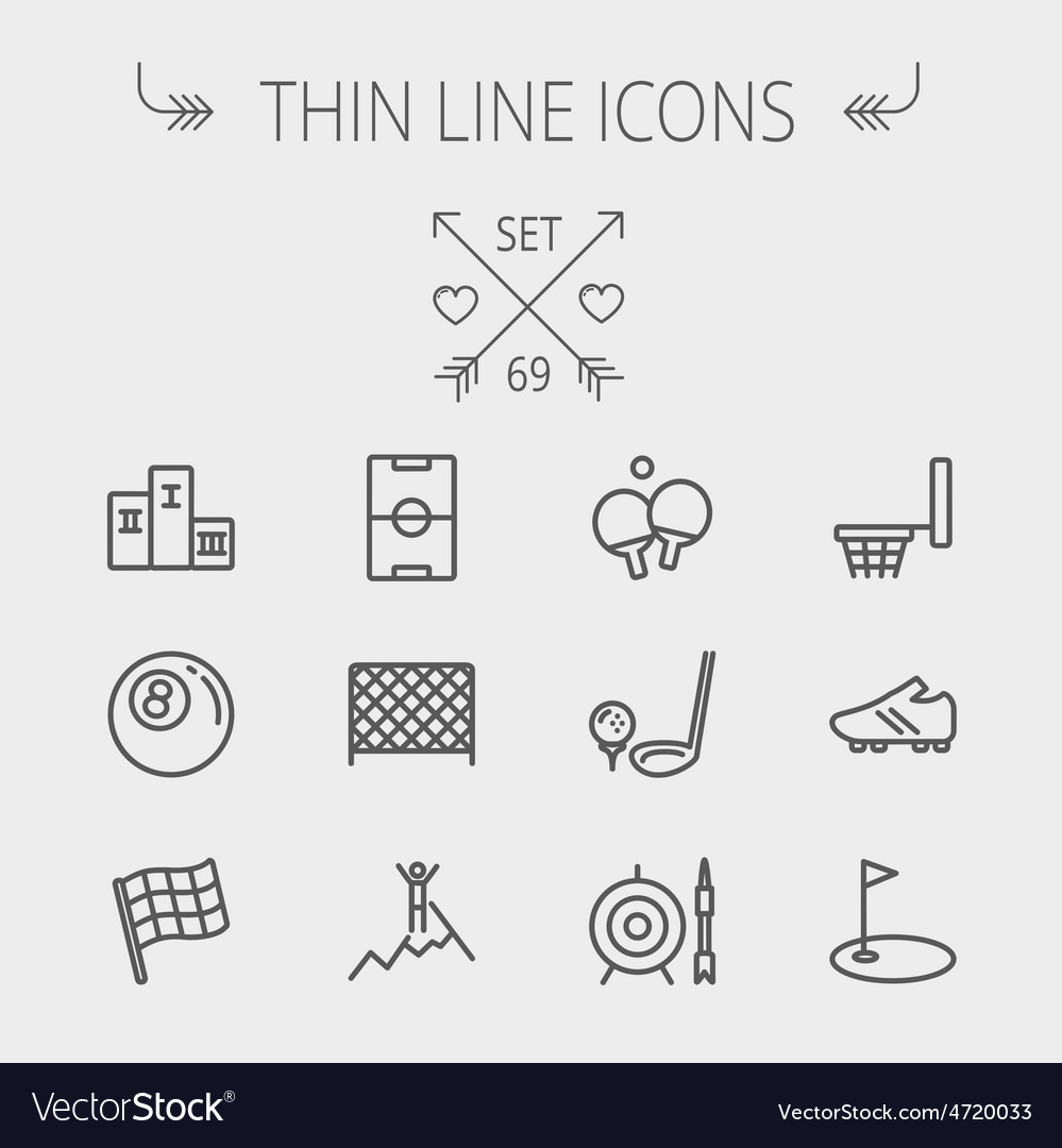 Sports thin line icon set vector | Price: 1 Credit (USD $1)