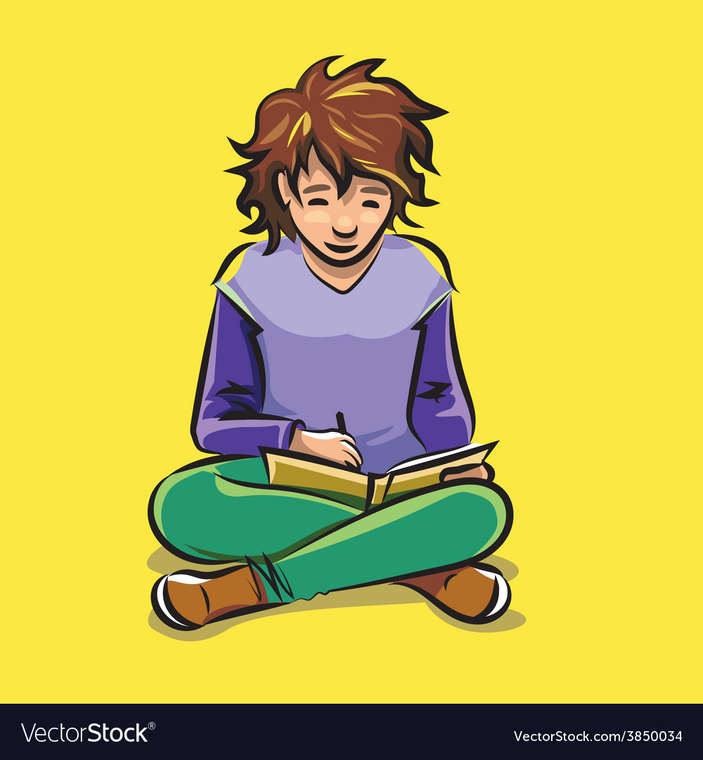 Child doing homework vector | Price: 3 Credit (USD $3)