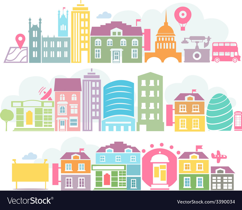 City london colorful silhouettes of buildings vector | Price: 1 Credit (USD $1)
