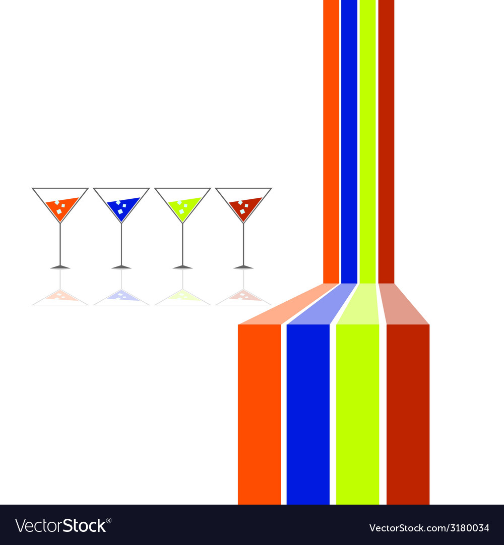 Four glasses and four color line vector | Price: 1 Credit (USD $1)