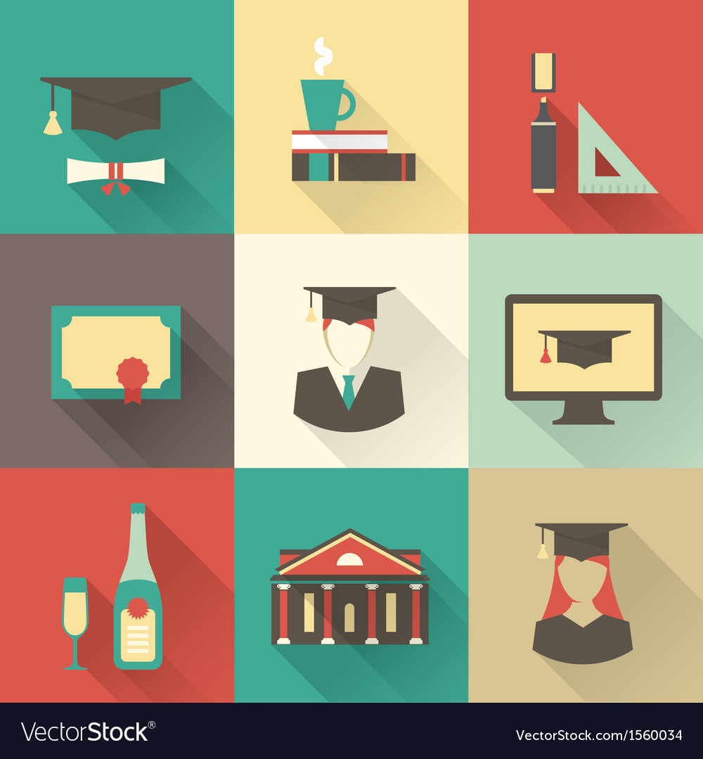 Graduation icons vector | Price: 3 Credit (USD $3)