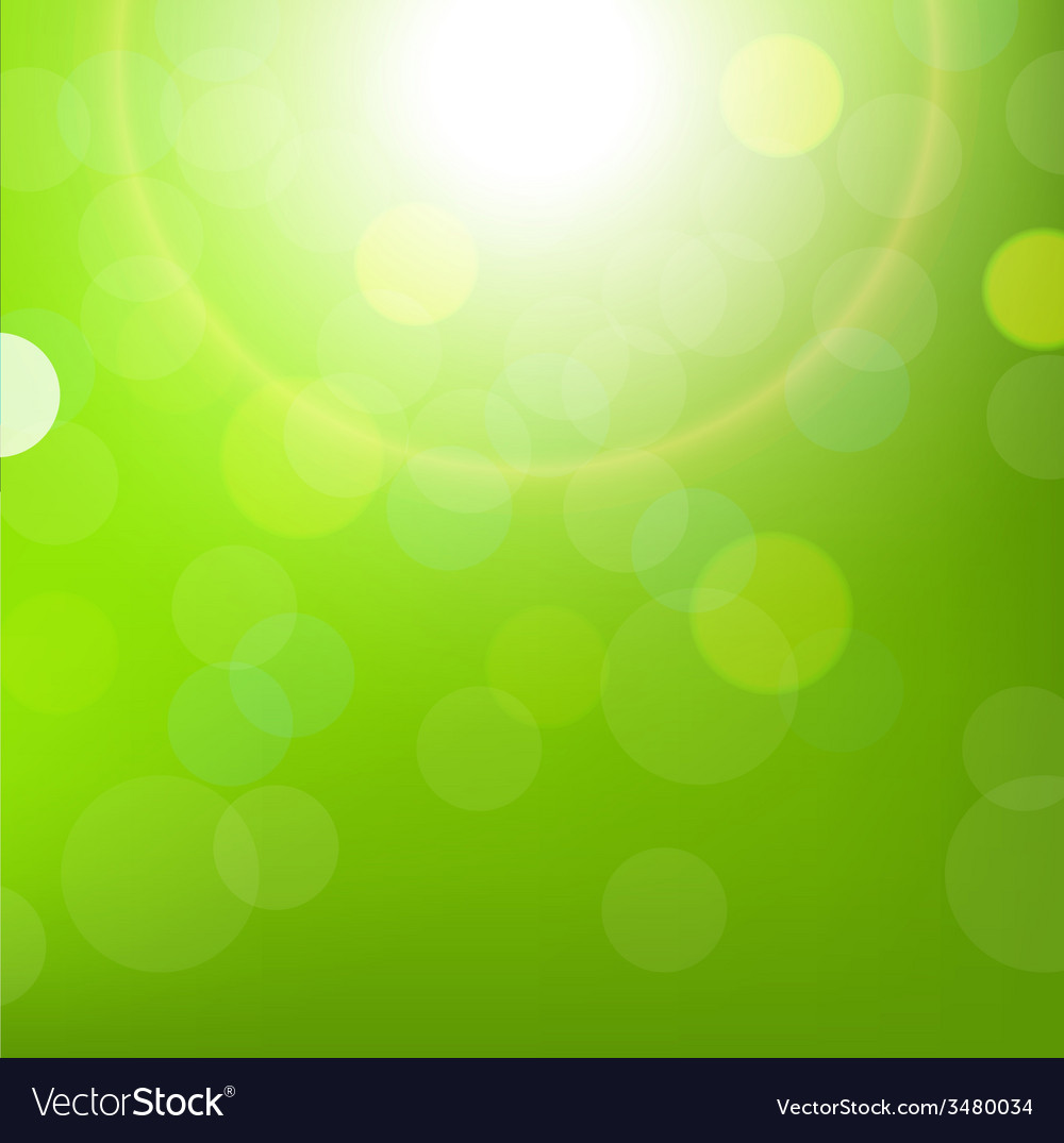 Green sun background with bokeh vector | Price: 1 Credit (USD $1)