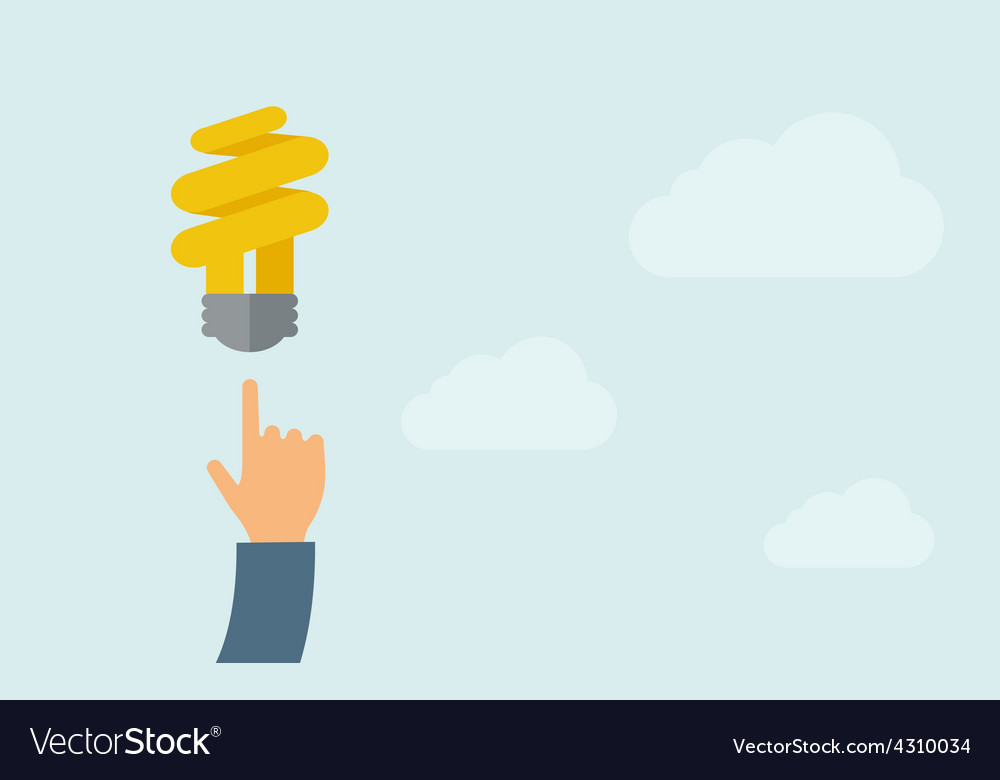 Hand pointing to spiral bulb vector | Price: 1 Credit (USD $1)