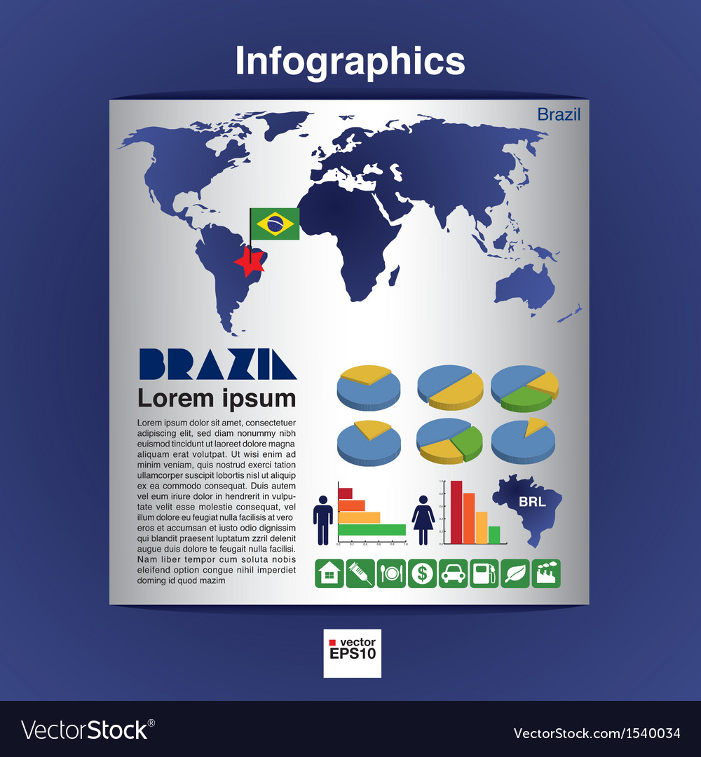 Infographic map of brazil eps10 vector | Price: 1 Credit (USD $1)