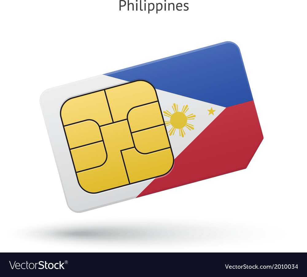 Philippines mobile phone sim card with flag vector | Price: 1 Credit (USD $1)