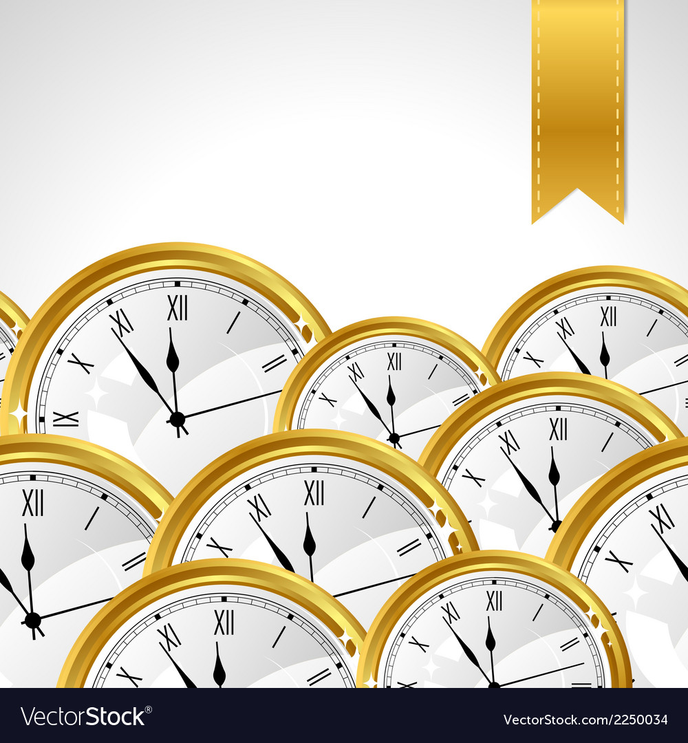 Stylish background with gold watches and ribbon vector | Price: 1 Credit (USD $1)