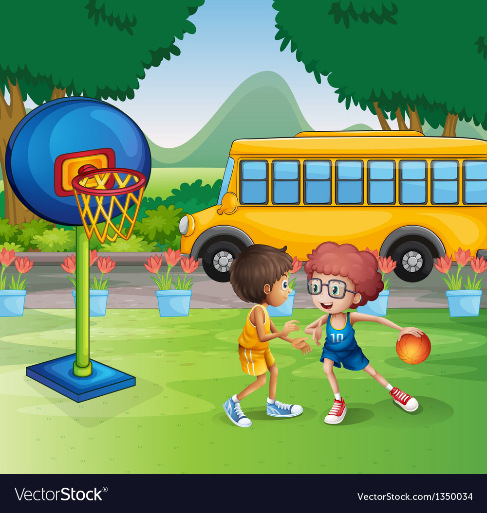 Two boys playing basketball near the school bus vector | Price: 1 Credit (USD $1)