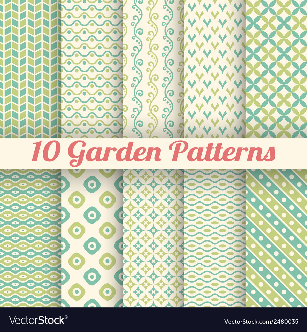 10 green garden seamless patterns abstract texture vector | Price: 1 Credit (USD $1)