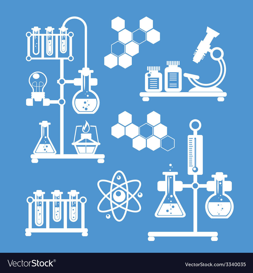 Chemistry decorative icons set vector | Price: 1 Credit (USD $1)